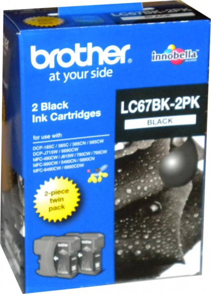BROTHER LC67 INK CARTRIDGE BLACK 2'S PK