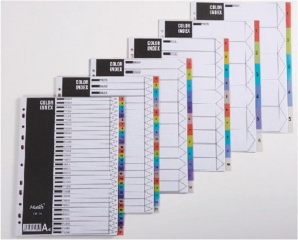 A4 5 COLOR PLASTIC COLOR DIVIDER