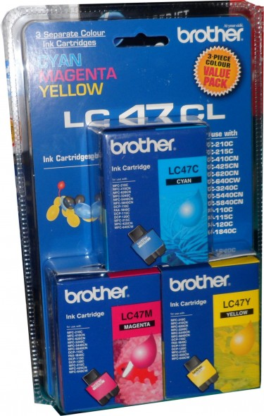 BROTHER LC47 COLOR INK CARTIDGE 3'S PACK