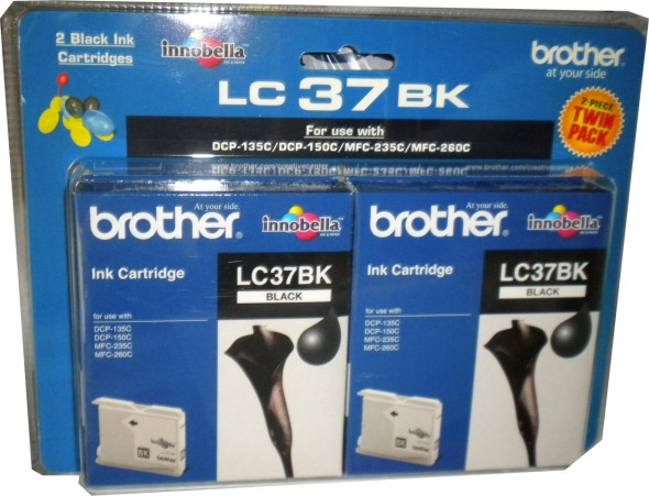 BROTHERLC37 INK CARTRIDGE BLACK 2'S PACK